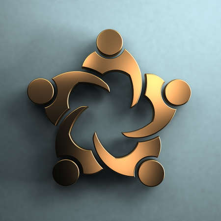 3D Group of people in a meeting.Golden style in wall. Teamwork concept