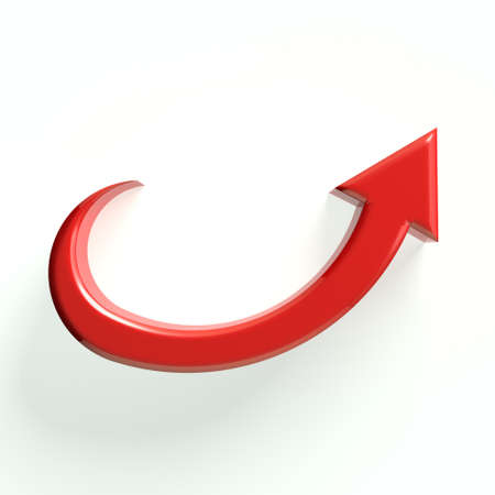 3D curved red up arrow