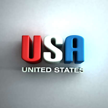 president of the usa: 3D USA Letters word  in red,white and blue