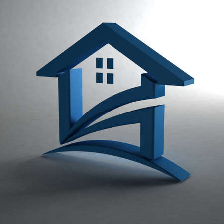 3D Blue check house in gray background photo