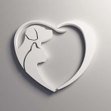 3D White Cat dog love heart