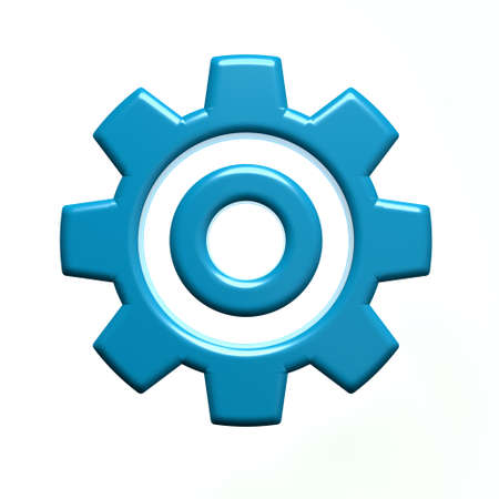 3D Single Blue Gear Isolated on White Background Stock Photo