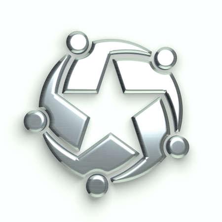 trabajo en equipo: Grupo 3D de personas que forman una estrella de plata. Concepto de trabajo en equipo