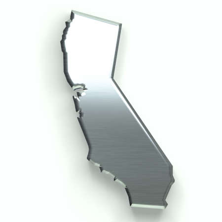 California silver map. 3D design Stock Photo