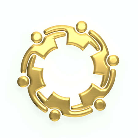 3D gold people logo Stock Photo - 41763284