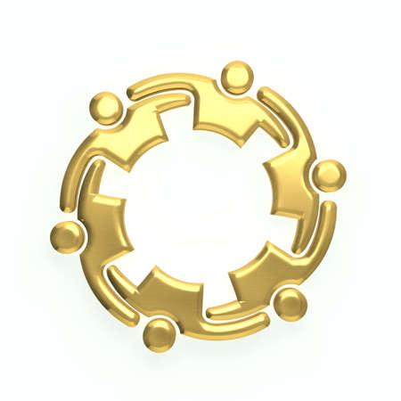 3D persone oro logo Archivio Fotografico
