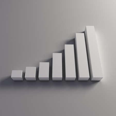 3D Finance bars in white