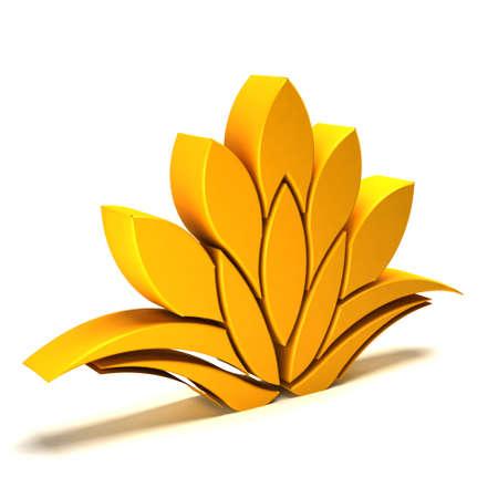 yoga meditation: 3D Lotus yellow logo