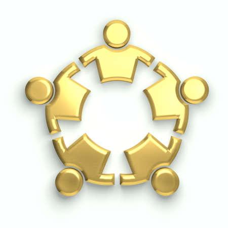circle shape: People logo. Golden circle Stock Photo