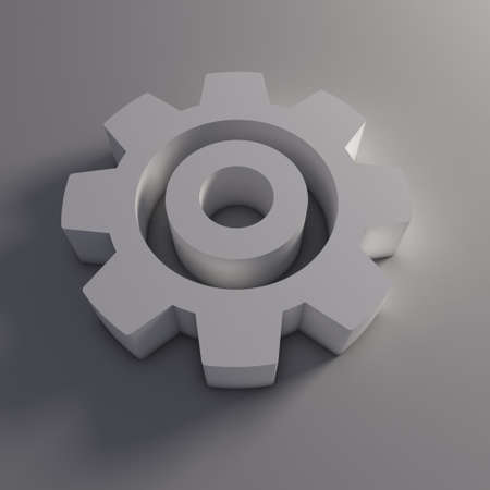 machined: 3D Gear Isolated Stock Photo