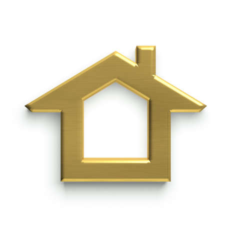 3 D 家のロゴ。ゴールデン 写真素材