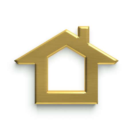 3D Huis Logo. Gouden