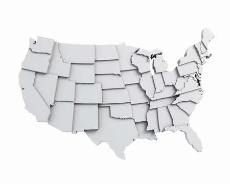 the borderline: 3D USA map white Stock Photo