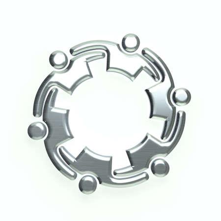 people teamwork: 3D Silver people logo Stock Photo
