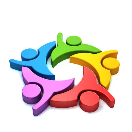 3d people: 3D People logo colorful