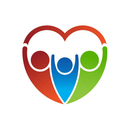 green heart: Group of people forming a heart. Family care concept