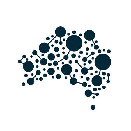 Australial dot kaart. Concept voor netwerken, technologie en aansluitingen