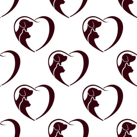 Cat dog heart pattern. Seamless