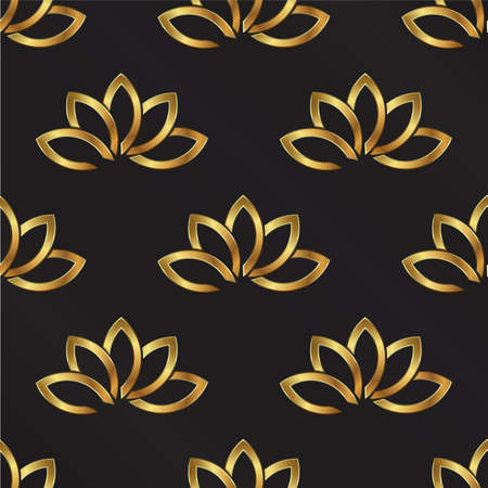 golden texture: Golden Lotus plant pattern background. Seamless
