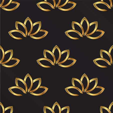 shinning: Golden Lotus plant pattern background. Seamless