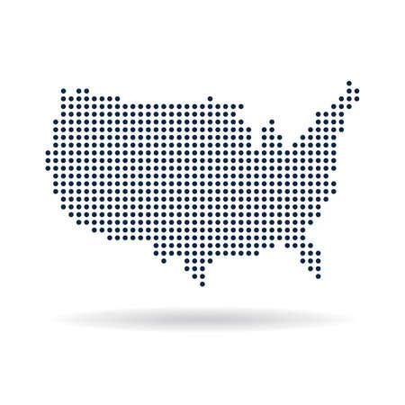 EE.UU. mapa de puntos. Concepto para la creación de redes, la tecnología y las conexiones