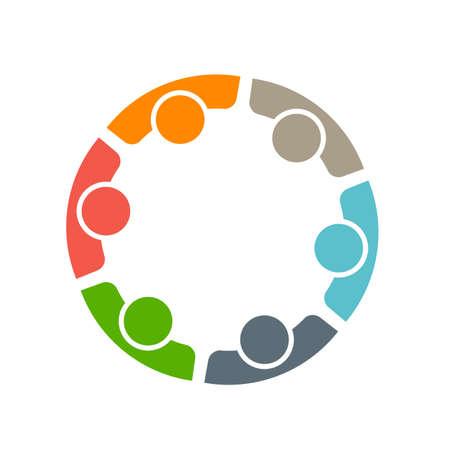 Team van zes mensen. Concept van de groep van mensen ontmoeten samenwerking en grote werk. Stock Illustratie