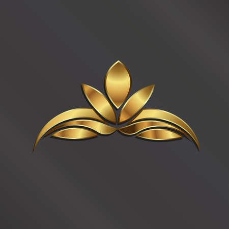豪華なゴールドのロータス植物イメージ。  イラスト・ベクター素材