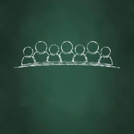 fila di persone: Gesso disegnata persone linea pi� spessa