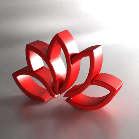 water splash isolated on white background: Red lotus plant. 3D render