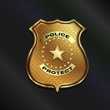 Gold Police Badge isolated on black background Illustration