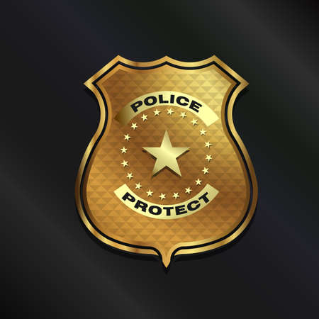 Gold Police Badge isolated on black background Illustration
