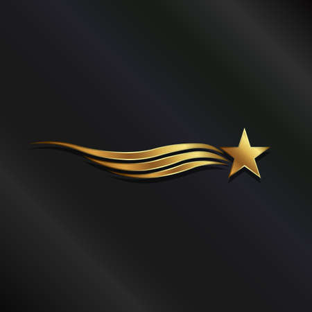 gold star: Gold star waves Illustration