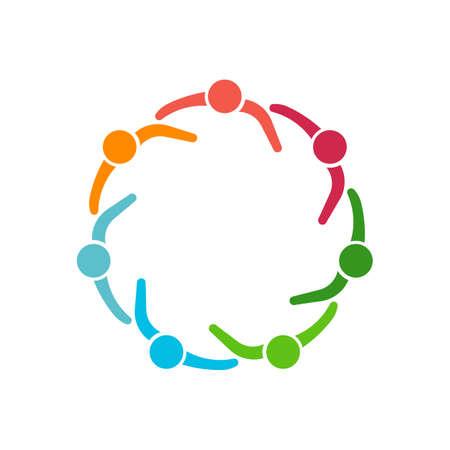 Mensen Groep van de zeven personen in de cirkel