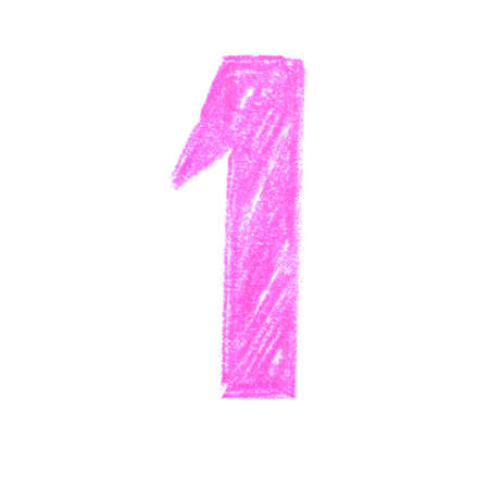 Number one pastel, pencil colored Stock Photo
