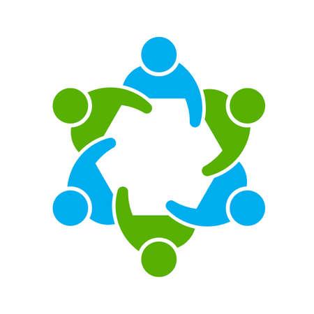Mensen logo. Groep van zes Stockfoto