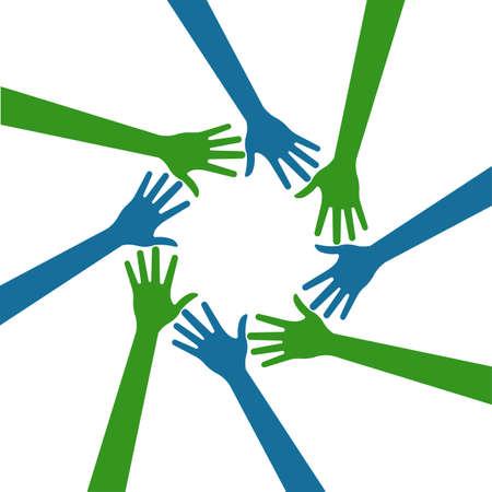 manos logo: Manos Gente logo círculo Foto de archivo