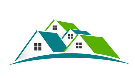 residences: House Logo. Group of houses Stock Photo
