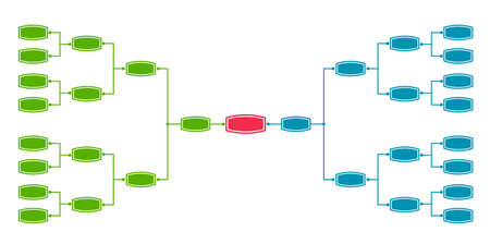 Bracket tournament 16 Vectores