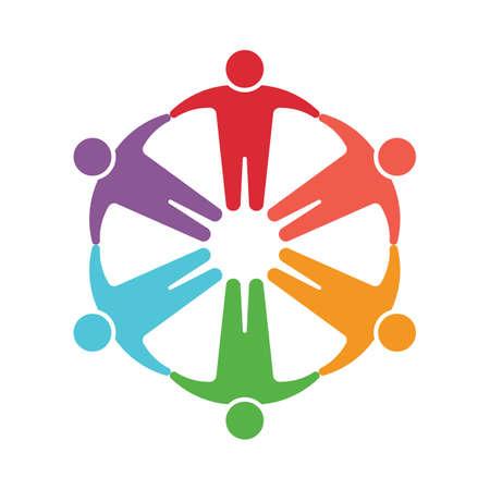 Mensen logo. Groep van zes personen