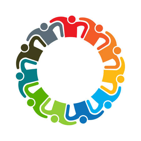 People teamwork logo. Group of eleven persons Stockfoto