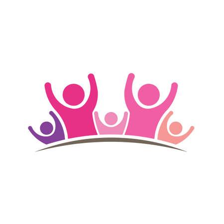 comunidad: Mujeres logotipo. Gráfico de cinco personas Foto de archivo