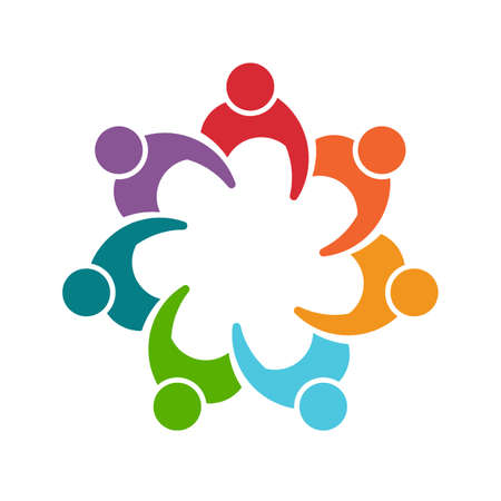 seven persons: People man logo. Group of seven persons