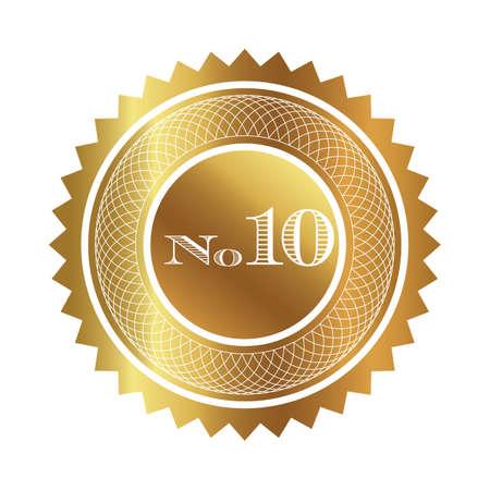 numero diez: Número sello de diez de oro Foto de archivo
