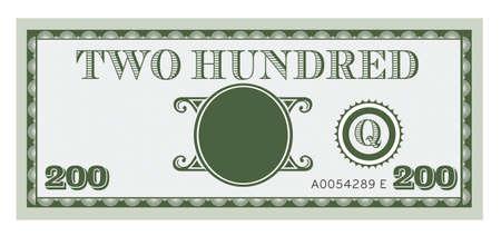 factura: Doscientos vector proyecto de ley de dinero. Con espacio para añadir su texto, la información y la imagen.