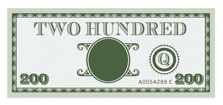five dollars: Two hundred money bill vector. With space to add your text, information and image.