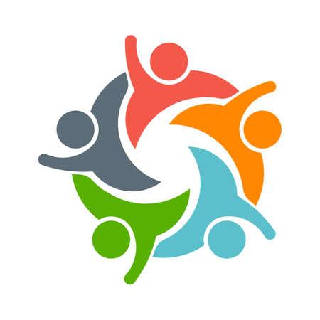 Teamwork Mensen logo. Afbeelding van vijf personen Stockfoto