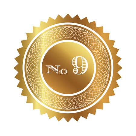 numero nueve: Número sello de nueve de oro Foto de archivo