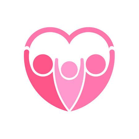 pinky: Pinky family logo vector. Heart shape Illustration
