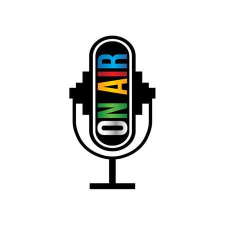 Retro microphone on air   イラスト・ベクター素材