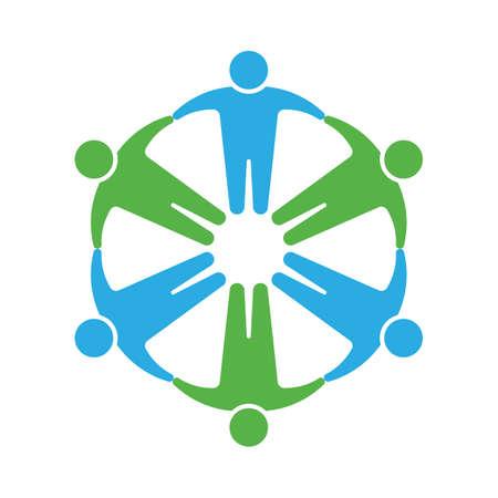 manos entrelazadas: Icono de la gente. Tomados de la mano en círculo Vectores